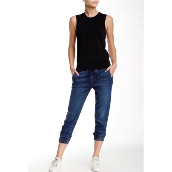Mother Drawstring Crop Trainer Jeans SZ 26